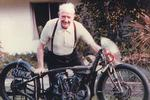 Burt Munro with his 1929 Indian Scout, 1977