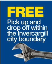 Free Pick up and Delivery within Invercargill City boundary