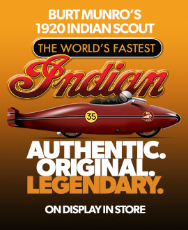 """See the original """"World´s Fastest Indian"""" on display in store - FREE to view during normal shop hours"""